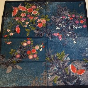 """20"""" Square Japanese Butterfly Blue Gold Scarf"""